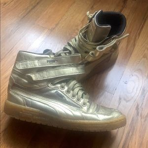 Gold leather puma high top sneakers sz 6